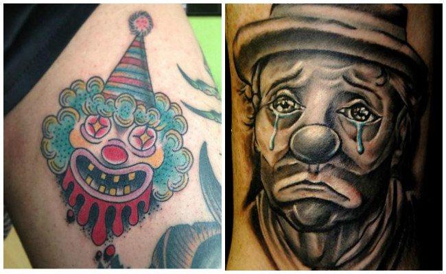 Caras de payasos en tatuajes