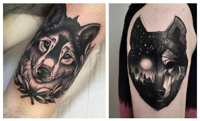 Foto de tatuaje de un lobo de noche