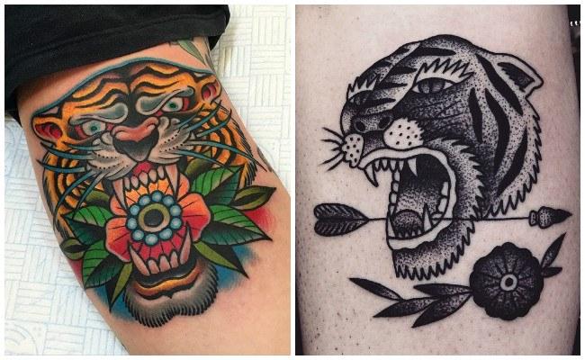 Imágenes de caras de tigres en tatuajes