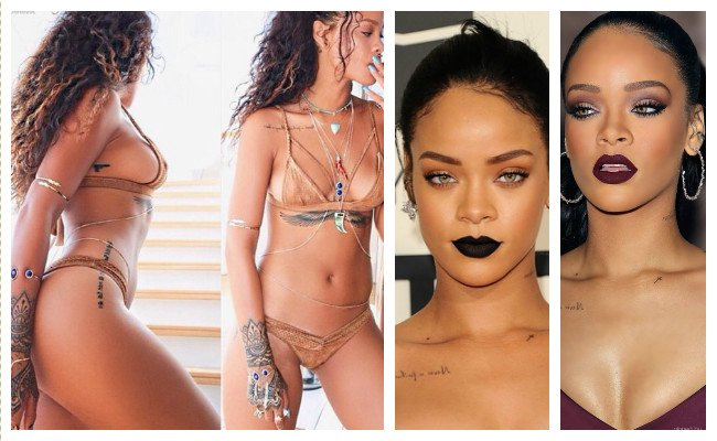 Imágenes de los tatuajes de Rihanna y su significado