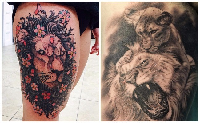 Imágenes de tatuajes de leones en el pecho
