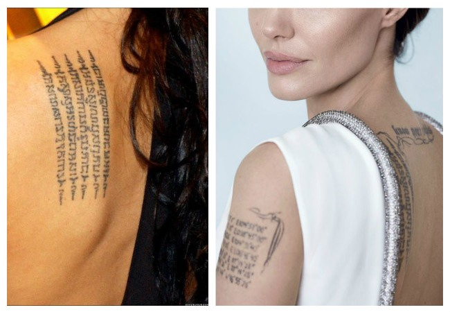 Images of current Angelina Jolie tattoos