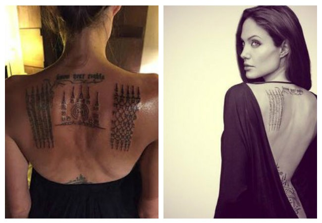 Meaning of Angelina Jolie tattoos language