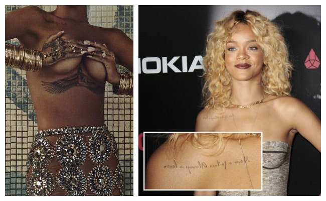 Tatuajes de Rihanna al revés