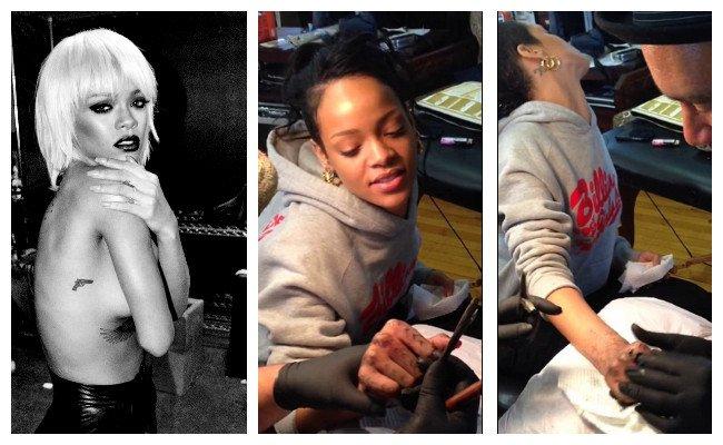 Tatuaje de Rihanna de una pistola