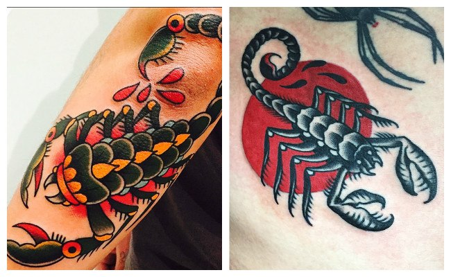 Tatuaje de alacrán en el cuello