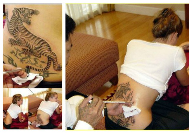 Angelina Jolie tiger tattoo