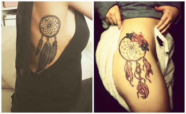 Tatuajes de atrapasueños indios a color