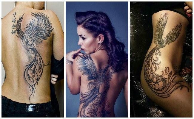 Tatuaje de ave fénix para mujer
