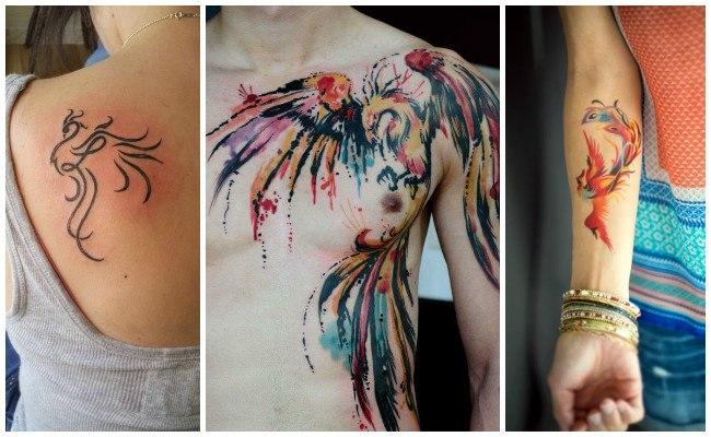 Tatuaje de ave fénix oriental