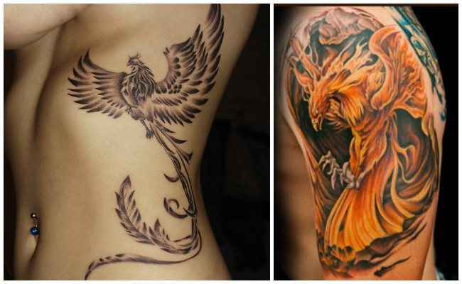 Tatuaje de ave fénix realista