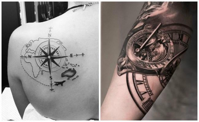 Tatuajes de brújula y reloj