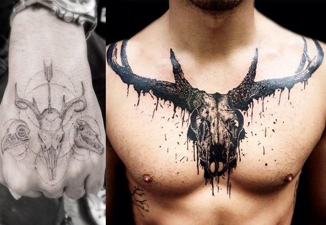 Tatuaje calavera de carnero
