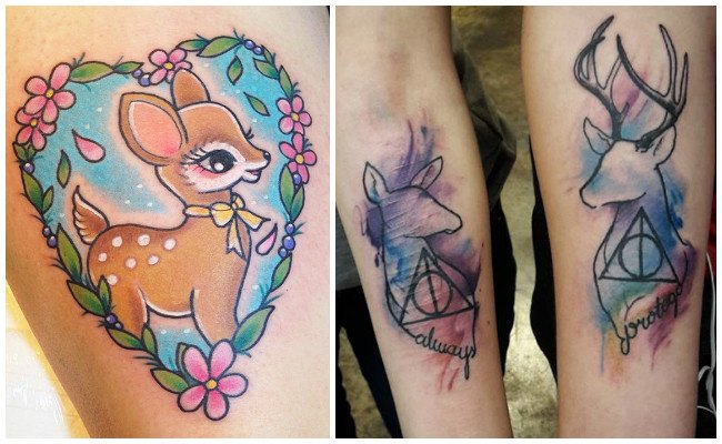 Tatuaje de ciervo triángulo