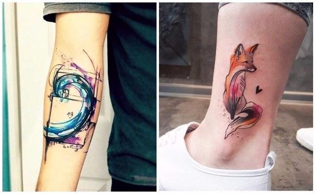 Tatuaje de colibri acuarela