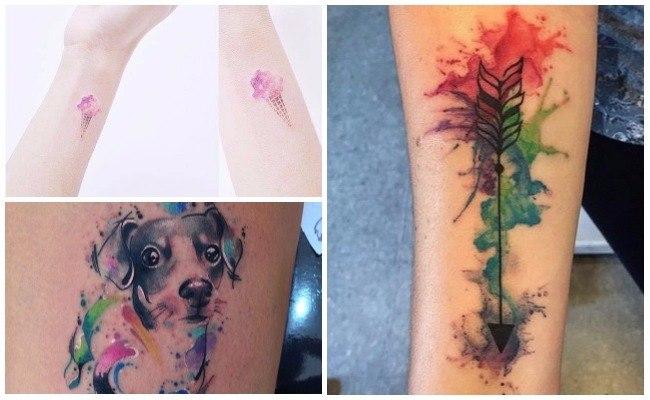 Tatuaje con acuarela