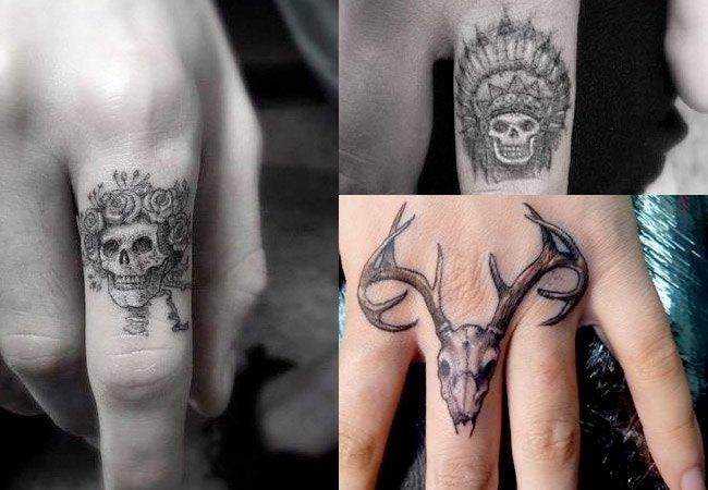 Tatuaje de calavera en el dedo