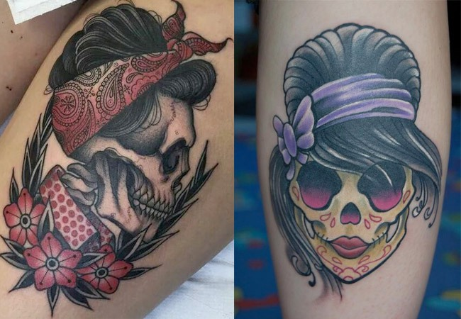 Tatuaje de calaveras pinup