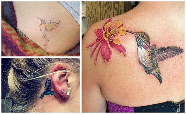 Tatuaje de colibrí en el cuello