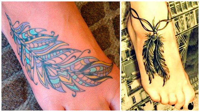 Tatuaje de pluma en el pie