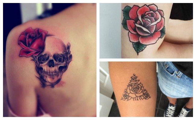 Tatuaje de rosas con calaveras