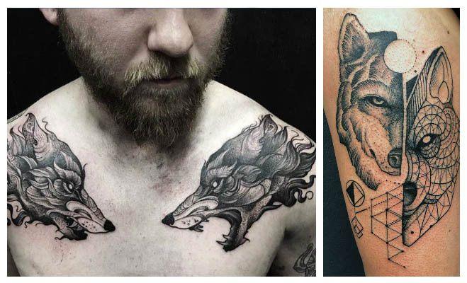 Tatuaje de dos lobos
