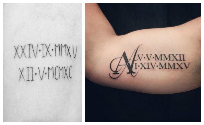 Tatuaje de fechas con números romanos