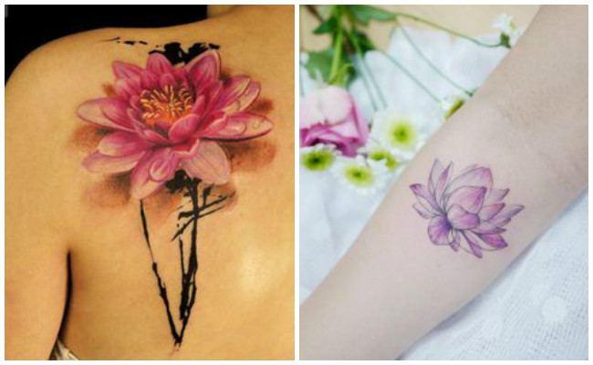 Tatuaje de flor de loto en el hombro