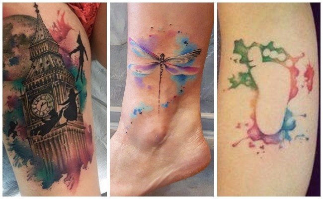 Tatuaje de flor de loto en acuarela