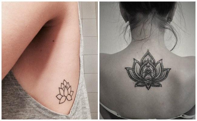 Tatuaje de flor de loto femenino