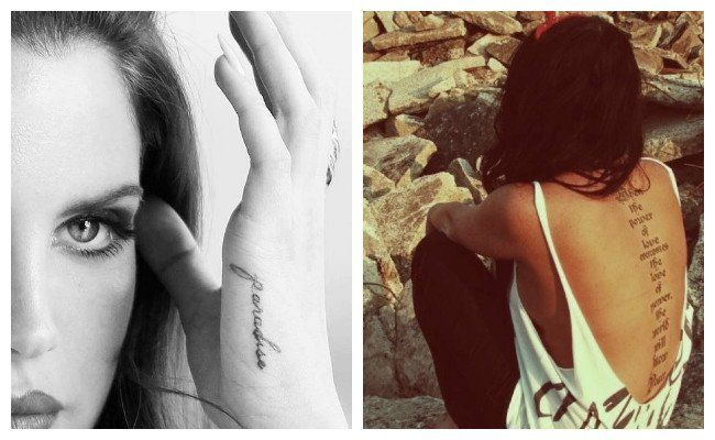 Tatuaje de frases en la espalda