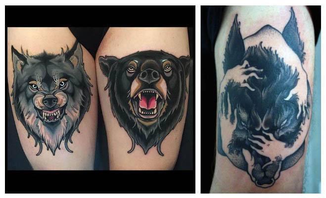 Tatuaje de un lobo y un oso