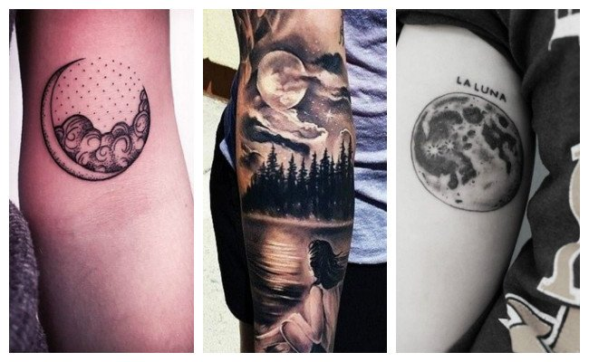 Tatuaje de luna realista