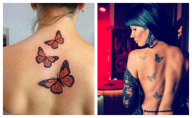 Tatuaje de mariposa en la espalda