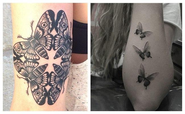 Tatuaje de mariposas en blanco y negro