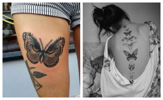 Tatuajes de mariposas grandes en la espalda