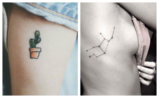 Tatuaje minimalista en el costado