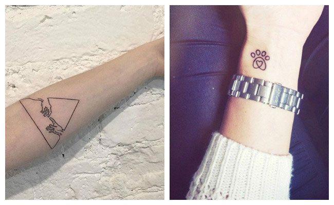 Tatuaje minimalista de un triángulo