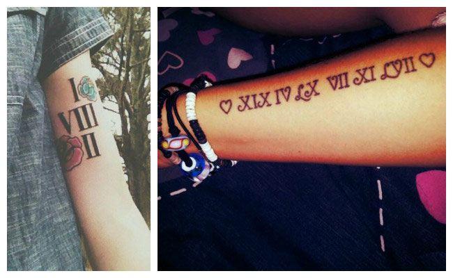 Tatuaje en números romanos en el brazo