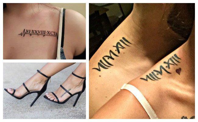 Tatuajes de números romanos en la clavícula