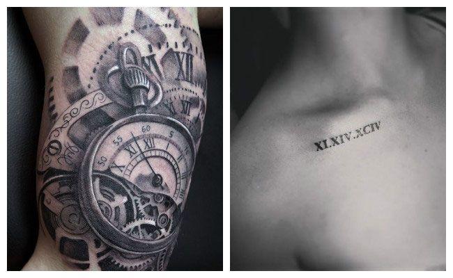 Tatuajes de relojes con números romanos