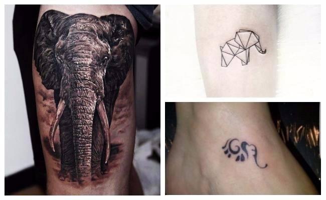 Tatuaje origami de elefante