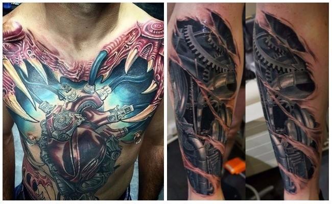 Tatuaje de piel rasgada biomecánico