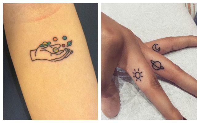 Tatuaje de planetas minimalista
