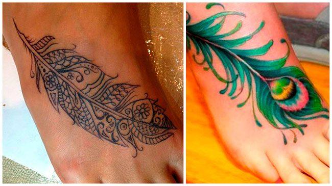 Tatuaje pluma en el pie