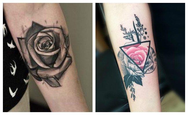 Tatuaje de rosa en el brazo
