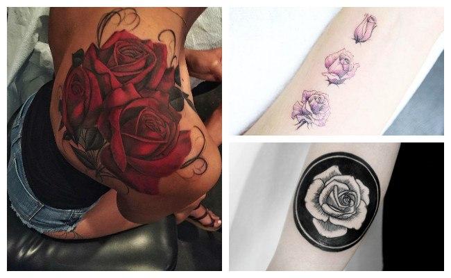 Tatuaje de rosa con color