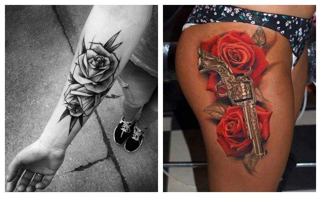 Tatuaje de rosa con pistola para mujeres