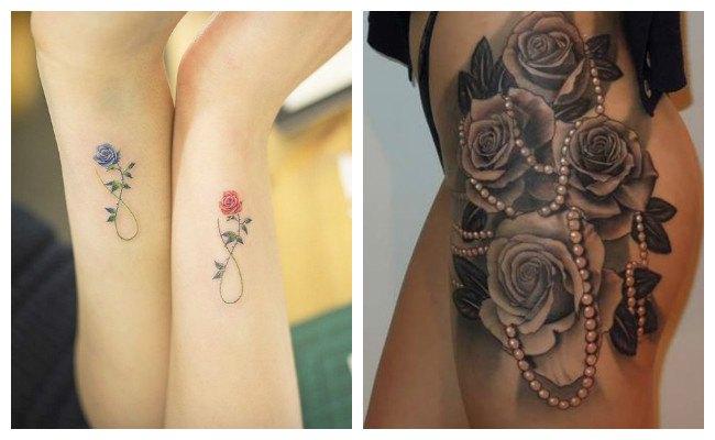 Tatuaje de rosas en el muslo