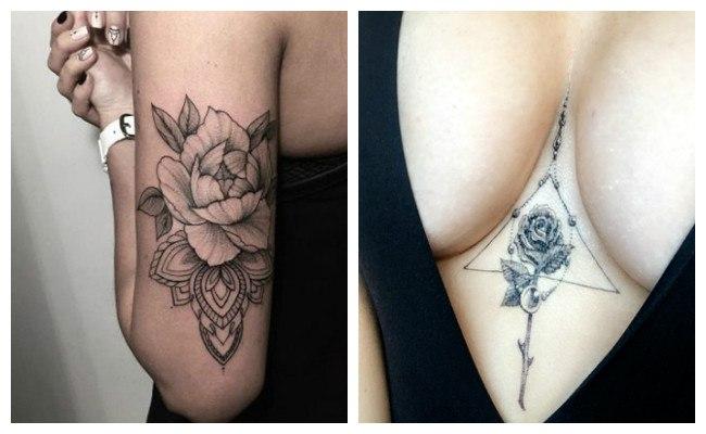 Fotos de tatuaje de rosas en el pecho